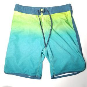 Burnside Ombre Yellow Green Board Shorts
